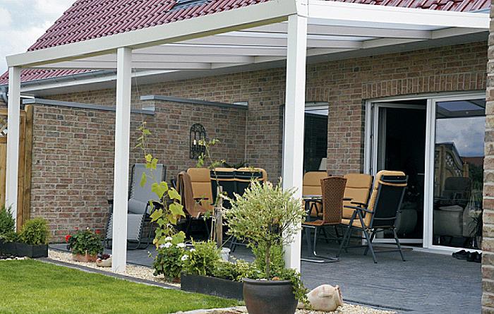 ALU Terrassen u00fcberdachung 800x350cm, wei u00df, Montagefertig