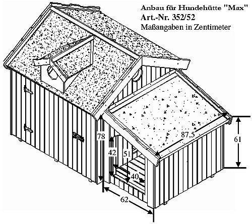 anbau f r hundeh tte max 69 x 92 x 78 cm hundehaus. Black Bedroom Furniture Sets. Home Design Ideas