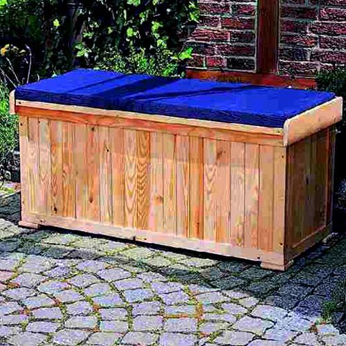 sitzbank mit kissenbox inkl sitzauflage holzbank. Black Bedroom Furniture Sets. Home Design Ideas