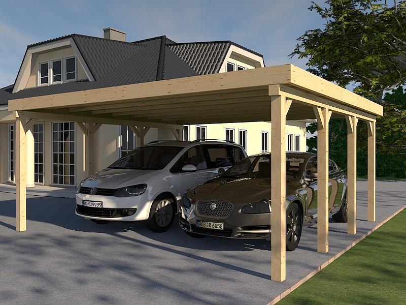 Sehr Carport Flachdach MONTREAL III 600x600cm Leimbinder Holz Bausatz LV14