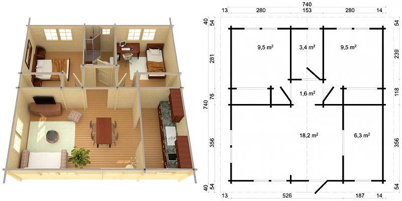 gartenhaus tipo ferienhaus blockhaus holzhaus 740 x 740 cm 70 mm ebay. Black Bedroom Furniture Sets. Home Design Ideas