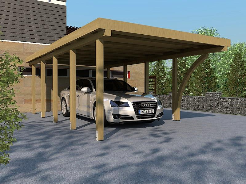 carport flachdach daytona iv 400 x 800 cm mit leimholzbogen flachdachcarport kaufen bei. Black Bedroom Furniture Sets. Home Design Ideas