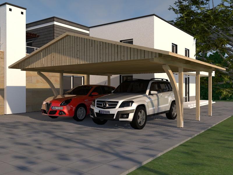 carport satteldach monte carlo viii 600x600cm kvh mit 2 leimholzb gen bausatz ebay. Black Bedroom Furniture Sets. Home Design Ideas