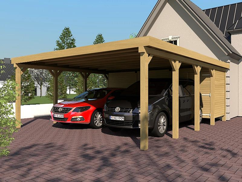carport flat roof silverstone ix 600x800 cm with equipment room flachdachcarport ebay. Black Bedroom Furniture Sets. Home Design Ideas