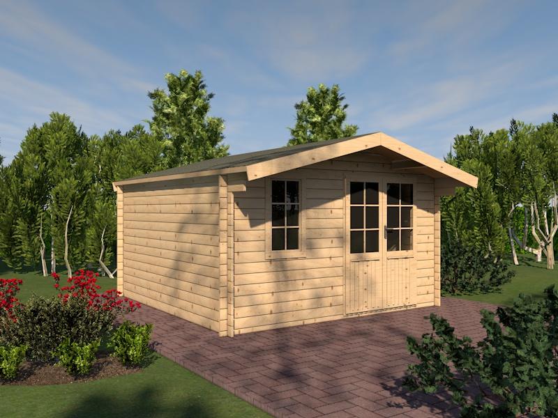 gartenhaus harz blockhaus 416cm x 416cm 45mm. Black Bedroom Furniture Sets. Home Design Ideas