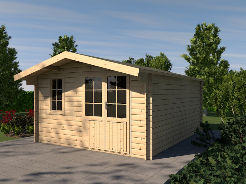 gartenhaus hunsr ck blockhaus 415 x 505cm 44mm holzhaus. Black Bedroom Furniture Sets. Home Design Ideas
