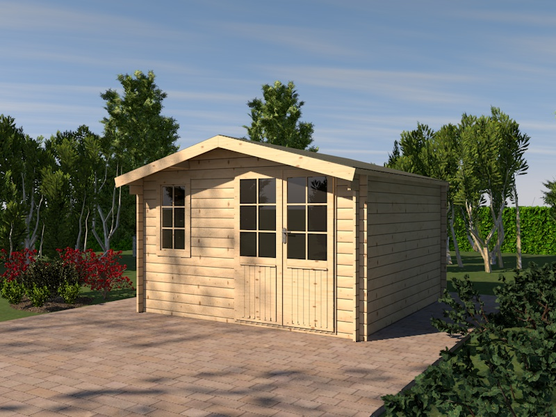 gartenhaus j mme blockhaus 385cm x 385cm 28mm ebay. Black Bedroom Furniture Sets. Home Design Ideas