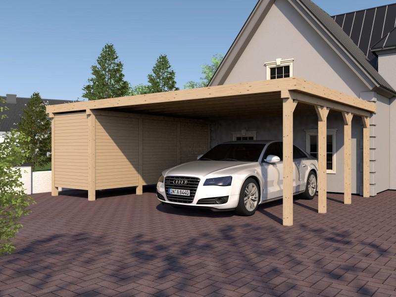 carport flachdach avus xvi 800x600 cm mit ger teraum. Black Bedroom Furniture Sets. Home Design Ideas