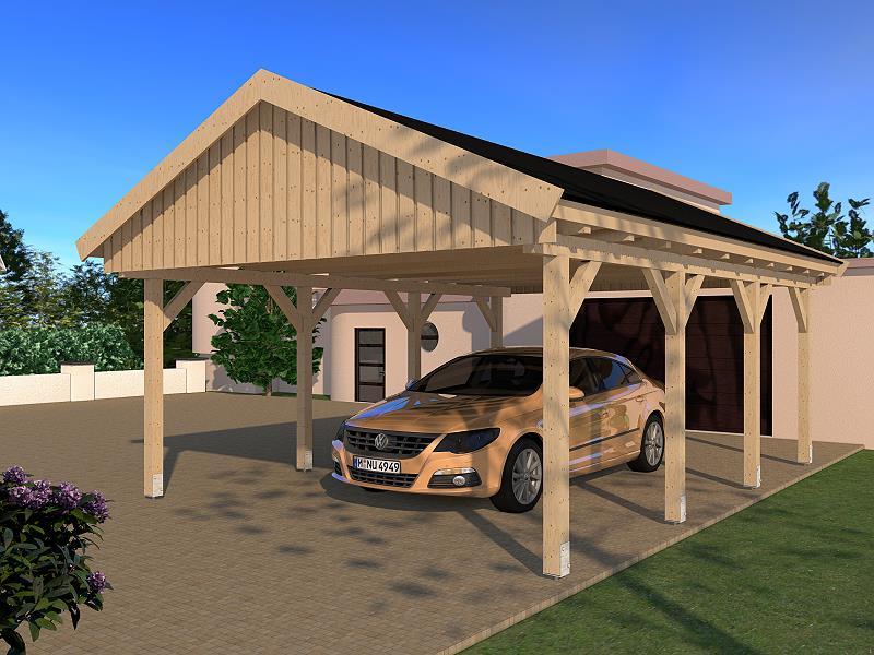 carport satteldach le mans v 500x600cm konstruktionsvollholz kvh bausatz fichte ebay. Black Bedroom Furniture Sets. Home Design Ideas