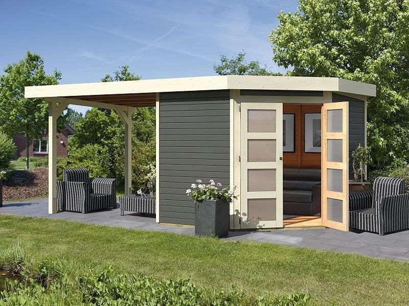 karibu gartenhaus goldendorf 5 anbaudach 2 60m l nge terragrau 246x242cm 19mm ebay. Black Bedroom Furniture Sets. Home Design Ideas