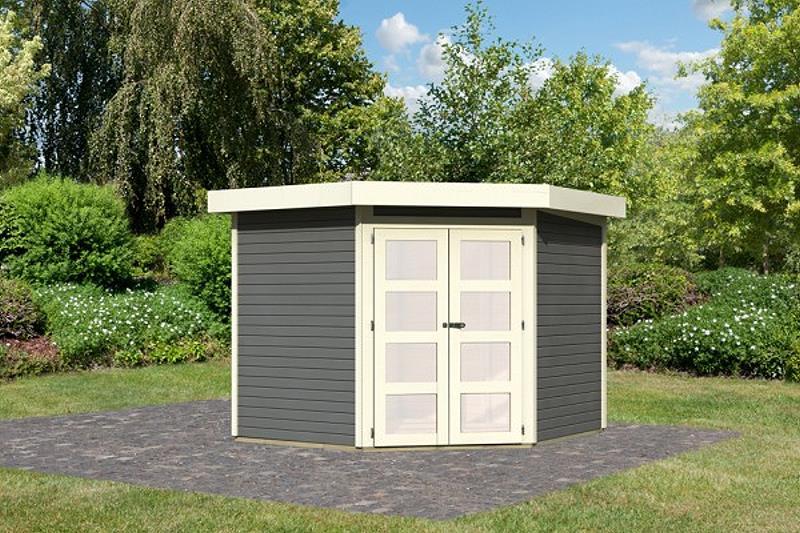 karibu gartenhaus goldendorf 5 terragrau ger tehaus 246x242cm 19mm schuppen ebay. Black Bedroom Furniture Sets. Home Design Ideas
