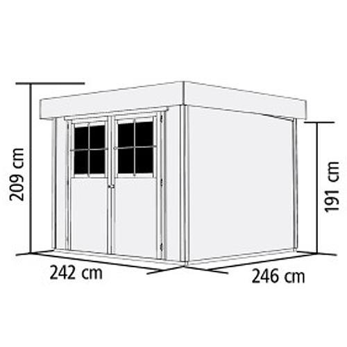 karibu gartenhaus limburg 5 anbaudach terragrau ger tehaus 242x246cm 19mm ebay. Black Bedroom Furniture Sets. Home Design Ideas