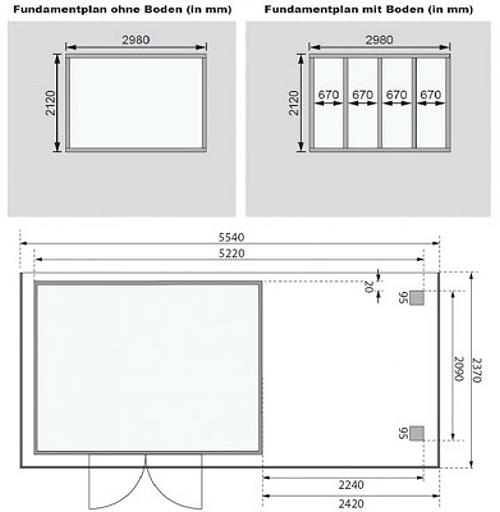 karibu gartenhaus m hlendorf 4 anbaudach 2 20m terragrau 302x217cm 19mm ebay. Black Bedroom Furniture Sets. Home Design Ideas